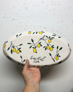 Oval platter or tray (large) - lemon design on porcelain