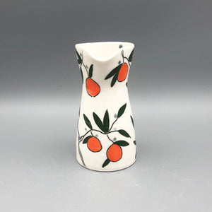 Pitcher or pourer (14oz) - Orange design on porcelain
