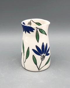 Pitcher or pourer (8oz) - Blue coneflower design on porcelain