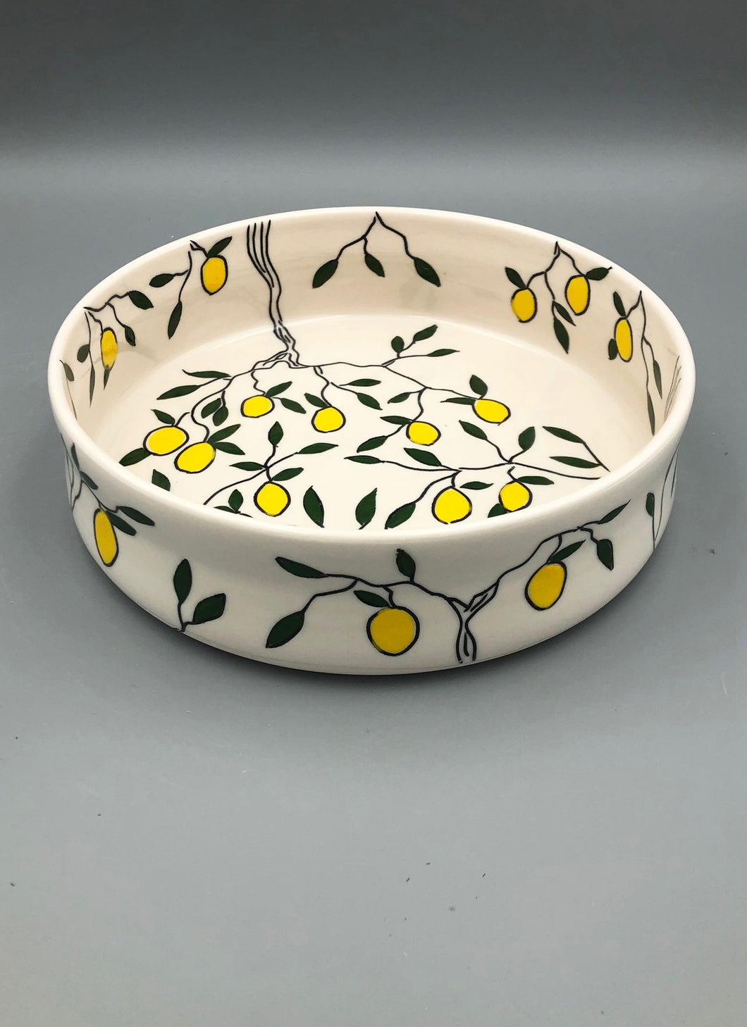 Serving dish (medium) - Lemon design on porcelain