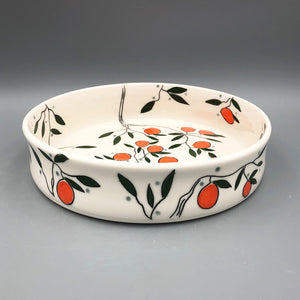 Serving dish (medium) - Orange design on porcelain