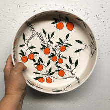 Load image into Gallery viewer, Serving dish (medium) - Orange design on porcelain