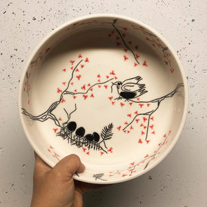 Serving dish (medium) - Mama bird in a cherry blossom tree on porcelain