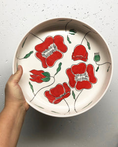 Serving dish (large 10.5 in) - Red poppy design on porcelain