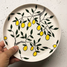 "Load image into Gallery viewer, Plate (small 8"") - Lemon design on porcelain"