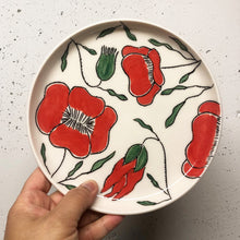 "Load image into Gallery viewer, Plate (small 8"") - Red poppies on porcelain"