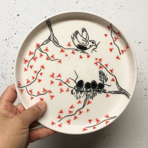 "Plate (small 8"") - Mama bird in a cherry blossom tree on porcelain"