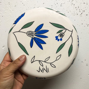 "Plate (small 8"") - Blue coneflower design on porcelain"