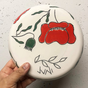 "Plate (small 8"") - Red poppies on porcelain"