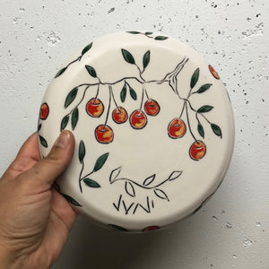 "Plate (small 8"") - Sweet cherries on porcelain"