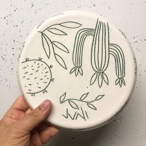 "Plate (small 8"") - Succulent design on porcelain"