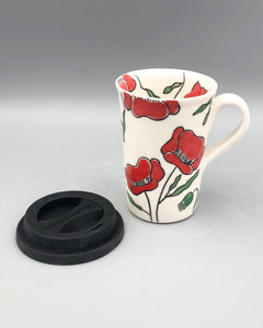 Mug (tall/travel 14oz) - Red poppy design on porcelain