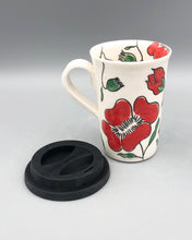 Load image into Gallery viewer, Mug (tall/travel 14oz) - Red poppy design on porcelain