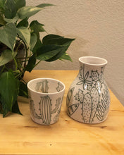 Load image into Gallery viewer, Water carafe or pitcher - succulent/cactus design on porcelain