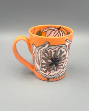 Load image into Gallery viewer, Mug (12oz) - White peonies on orange porcelain