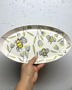 Oval platter or tray (large) - bee design on porcelain