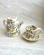 Load image into Gallery viewer, Americano or cappuccino cup (6-8oz) and saucer set - Lemon design on porcelain