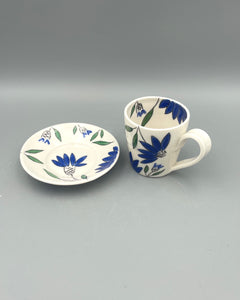 Americano or cappuccino cup (6-8oz) and saucer set - Blue coneflower design on porcelain