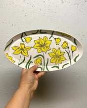 Load image into Gallery viewer, Oval platter or tray (large) - daffodil design on porcelain