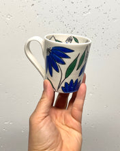 Load image into Gallery viewer, Americano or cappuccino cup (6-8oz) - Blue coneflower design on porcelain