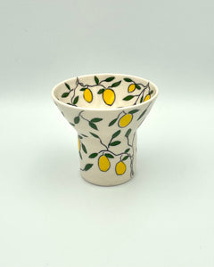 Vase (small and wide) - Lemon design on porcelain