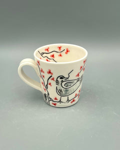 Americano or cappuccino cup (6-8oz) - Mama bird in a cherry blossom tree design on porcelain