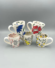 Load image into Gallery viewer, Americano or cappuccino cup (6-8oz) and saucer set - Blue coneflower design on porcelain