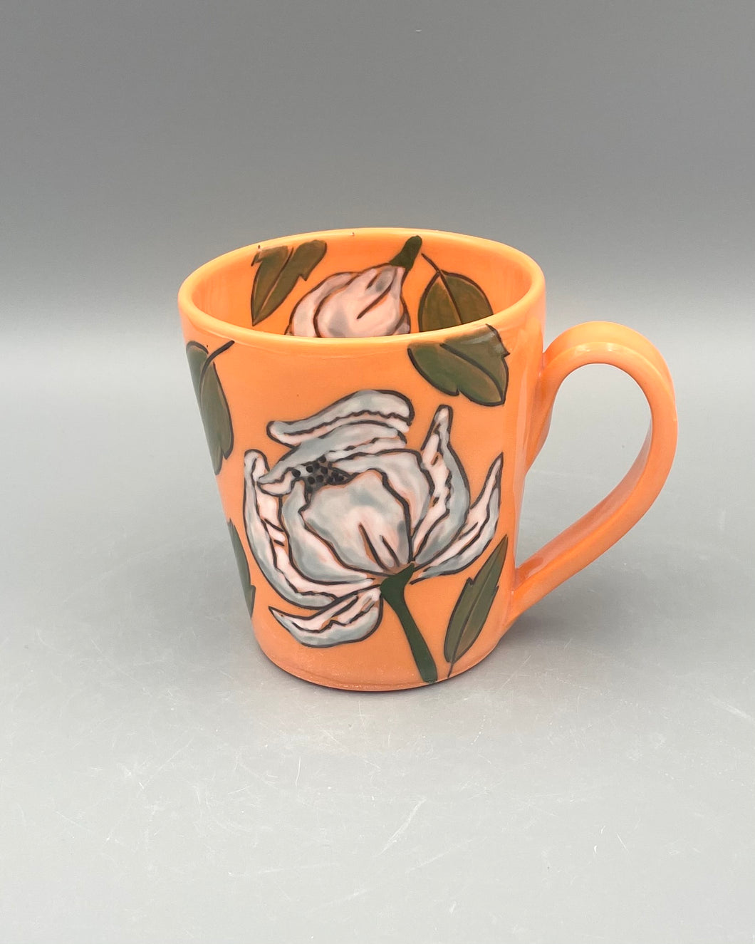 Mug (12oz) - White peonies on orange porcelain