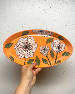 Oval platter or tray (large) - white peonies on orange porcelain