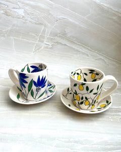 Americano or cappuccino cup (6-8oz) and saucer set - Lemon design on porcelain