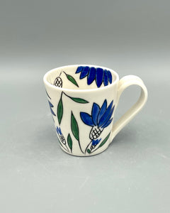 Americano or cappuccino cup (6-8oz) - Blue coneflower design on porcelain