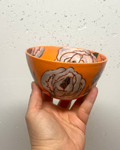 Load image into Gallery viewer, Bowl (small 8-10oz) - White peonies on orange porcelain