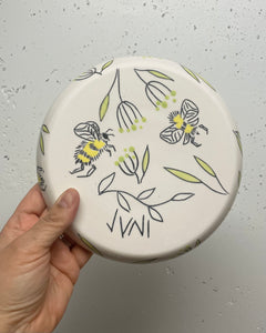 "Plate (small 8"") - Bee design on porcelain"