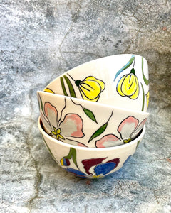 Bowl (medium 16oz) - Apple blossom design on porcelain