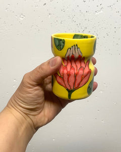 Wine tumbler (5oz) - King protea design on yellow porcelain