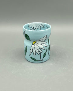 Wine tumbler (5oz) - Daisy design on blue porcelain