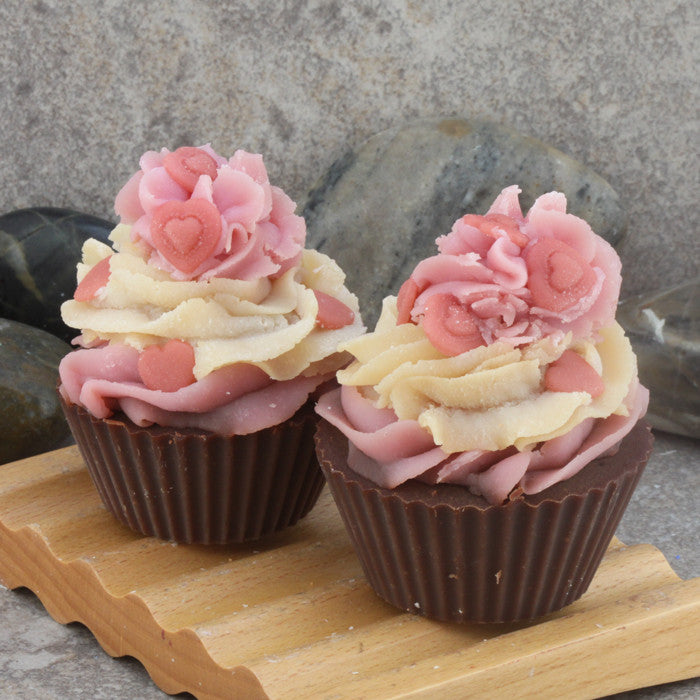 Strawberry Vanilla Scented Bakery Cupcake Soap - Cold Process