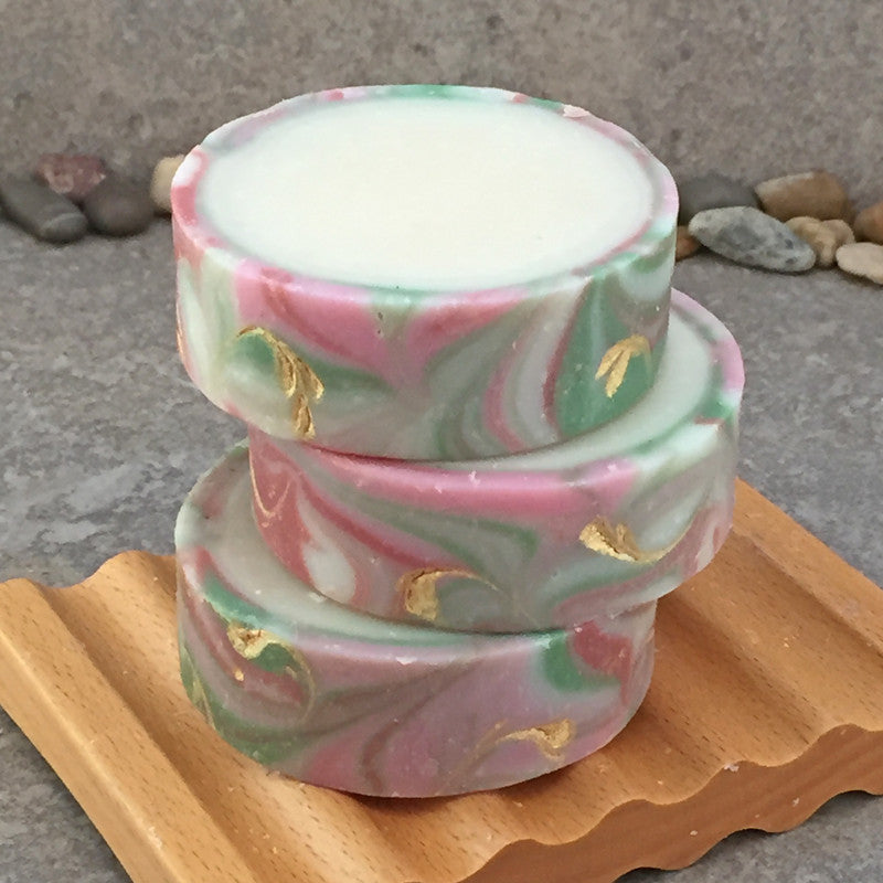 Rimmed Artisan Soap in a Champagne Apple Rose Fragrance