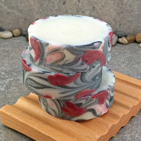 Red Hearts Rimmed Artisan Cold Process Soap in a Circular Round Shape