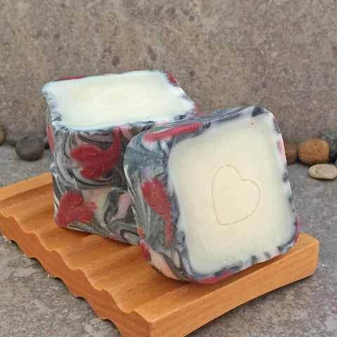 Red Hearts Rimmed Artisan Cold Process Soap in a Square Shape