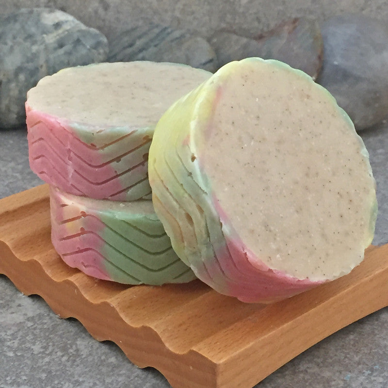 Warm Vanilla Apple Spice Round Bar Soap with Ground Vanilla Beans
