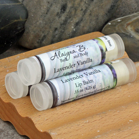 Lavender Vanilla Flavored Lip Balm with Cocoa Butter