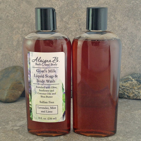Goat's Milk Liquid Soap Body Wash Lavender, Lime and Mint - Sulfate Free Cleanser