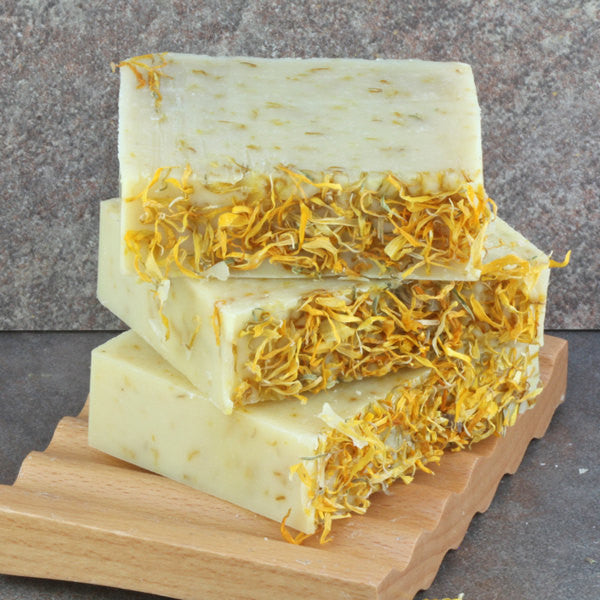 Calendula Herbal Handcrafted Cold Process Soap Bar - Unscented and Naturally Colored with Organic Ingredients