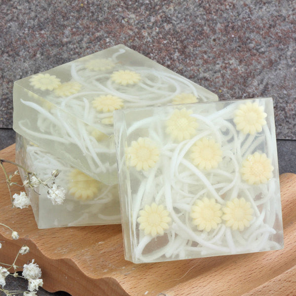 Citrus Sunshine Yellow Daisy Embedded Glycerin Soap Bar - Set of 3 Square Guest Size Made to Order