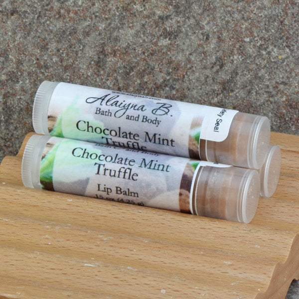 Chocolate Mint Truffle Flavored Lip Balm with Moisturizing Shea and Cocoa Butters