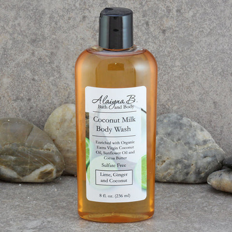 Coconut Milk Body Wash in a Lime - Ginger - Coconut Scent - Sulfate Free Skin Care Liquid Soap