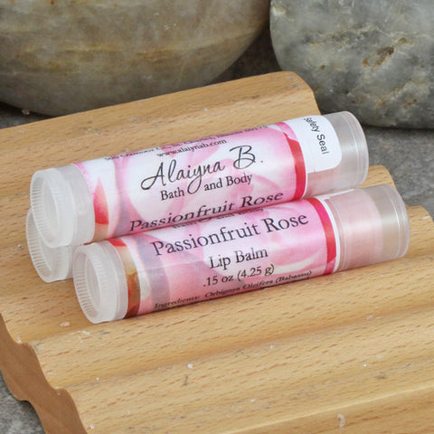 Passionfruit Rose Flavored Lip Balm with Shea and Mango Butters