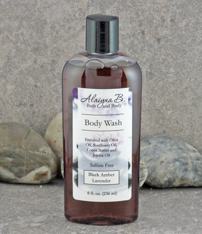Black Amber, Vanilla and Lavender Scented Liquid Body Wash - Sulfate Free Skin Care