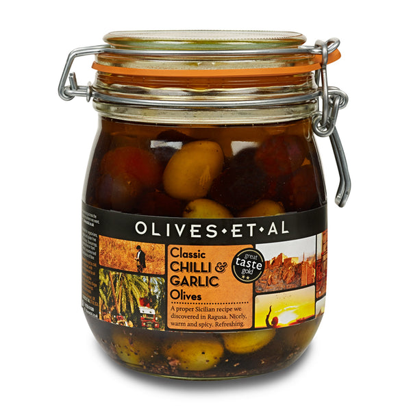 Classic Chilli & Garlic Olives – Kilner Jar 800g